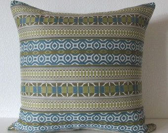 Tia Stripe Calypso decorative pillow cover blue green geometric stripes