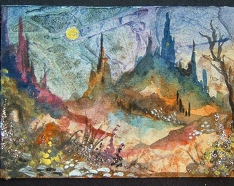 aceo art painting watercolour fantasy city ref 307