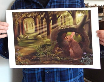 New Size Mini Poster Springtime in the Woods Print of Original Illustration Large Size 11 x17