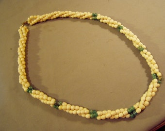 Vintage 1970s 25 Inch twisted 3 Strand Necklace With Green Stone & Bone Beads  8677