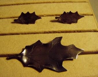Vintage Nye Sterling Oak Leaf Pin & Screw Back Earrings Set Stuart Nye Silver Shop Handmade 8510