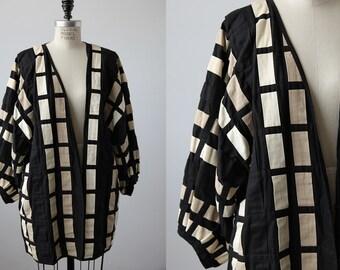 Vintage Woven Ribbon Coat Oversized Cocoon Kimono Jacket 80s Batwing Avant Garde Black Ivory Tan Nude