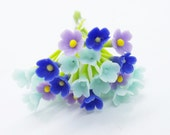 Miniature Polymer Clay Flowers Supplies for Dollhouse, set of 30 stems, assorted three tones