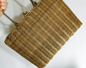 Vintage Plain Wicker Handbag It's In the Bag by Ritter Hong Kong Woven Straw Metal Top Handle Purse Mid Century Great for DIY Crafts