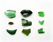 Broken Vintage Glass Photograph Green Minimalist Home Decor 10x8 Print Fragments...
