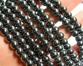 Hematite - 8 mm  round beads - 1 full strand - 52 beads - 1mm hole - RFG787