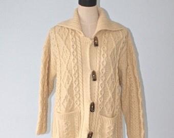 SALE Vintage Irish Wool Sweater Coat . CARRAIG DONN Ivory Aran Pure Wool Long Cardigan Made In Ireland * . Cardy Jumper . Sz Medium