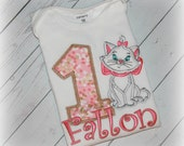 Aristocats Marie Kitty Cat Girls Birthday Shirt or Bodysuit Pink and Gold Dots Personalized Top FREE Name Personalization, Colors & Number