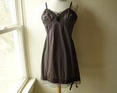 Slip Dress 36/38 M/L Espresso Chocolate Glam Garb Handmade USA Romantic Dress Victorian Vintage Steam-punk Hand Dyed Rockabilly Bohemian