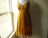 Slip Dress 38/40 L/XL Topaz Gold Glam Garb Handmade USA Romantic Nightie Victorian Steam-punk Vintage Hand Dyed OOAK Bohemian Hippie Mori