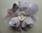 Fabric Flower Brooch Pin Floral Print Lavender Blue Grey Button Glam Garb Handmade USA Romantic Victorian Steam-punk Vintage OOAK Chic Boho