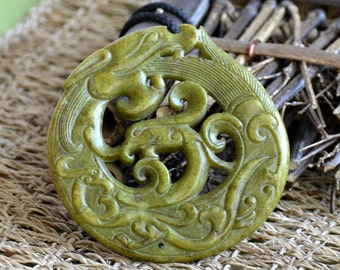 Double Side face green carved  dragon Chinese jade Flower Long Life Card pendant Bead Gemstsone,Amulet Talisman jade pendant findings