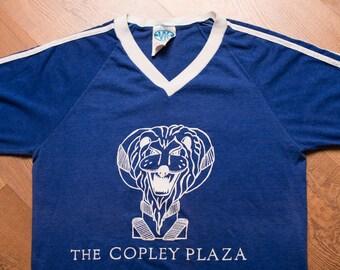 The Copley Plaza T-Shirt, Lion Logo Ringer, Boston Hotel, Vintage 80s