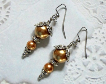 Apricot Orange and Silver Pearl Earrings (2704)
