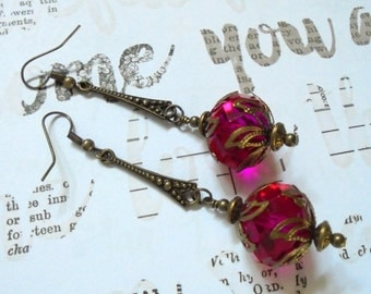 Chunky Fuschia and Brass Drop Earrings (2763)