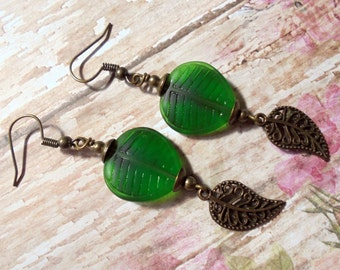 Emeral Green and Brass Leaf Earrings (3139)