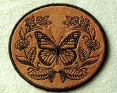 Monarch and Milkweed on Cowhide Leather Iron on Patch