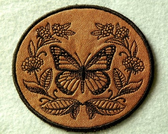 """Monarch and Milkweed on Cowhide Leather Iron on Patch 4.25"""" x 3.9"""""""