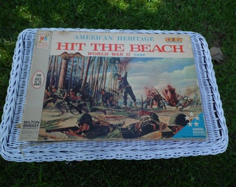 HIT The BEACH vintage 1965 American Heritage World War II game by Milton Bradley with beautiful game board, extra booklet, in box