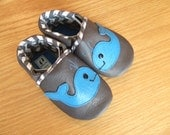 Gray and blue baby boys whale shoes size 4/ 6-12 month mud turtles and more