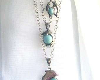 Larimar Triple Dolphin Sterling Necklace
