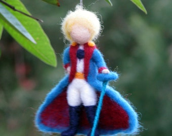Christmas ornament Little prince Needle felted Waldorf inspired