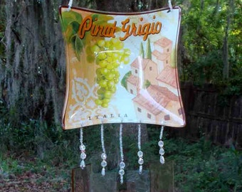 Pinot Grigio Wine Dish Upcycled into a  Windchime with Peachy-Pink Stained Glass Chimes