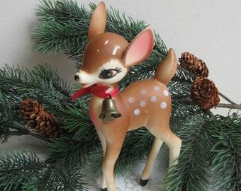 """Vintage Deer Statue 6"""" Plastic With Brass Bell Hong Kong, Bambi Doe Christmas Decoration, Clarice From Rudolph The Red Nosed Reindeer Movie"""