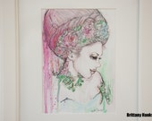 Sophia - Original 5 x 7 Drawing Painting in Ink, Watercolor, and Graphite  Matted Art in Frame Woman Illustration with Flower Crown