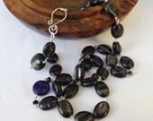 Black hypersthene, black beaded necklace, sterling silver, velvet labradorite, glass moon necklace, something special, modern necklace