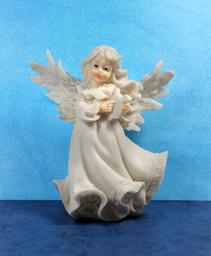 White Angel Figurine Paintable Figurine Vintage Home Decor