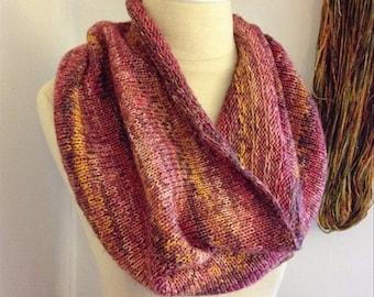 Knitting Pattern / Infinity Scarf Cowl Colourwork DIY Tutorial Mini Skeins / Raye Tweed Stripes Colorwork / PDF Digital Delivery / NEW