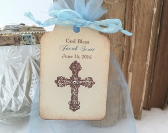 Boy Christening Favor Set Blue Baptism First Communion Favor Bags Cross Set of 10