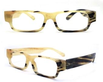 Defective TAKEMOTO HENRY  OX horn aquare style handmade prescription sunglasses eyeglasses 20160912414