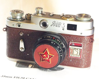 Brown Vintage Red Star FED-3 camera Russian LEICA -=The Shooter First Category=-