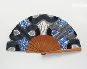 African Fashion fan with leather case - Black White Blue - Bridal hand fan made of Ankara