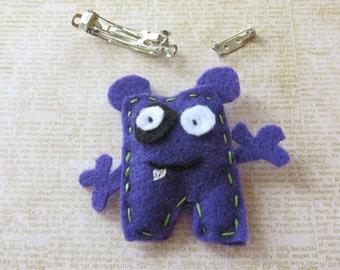 Funny Purple Monster Handmade Felt Hair Clip Or Pin