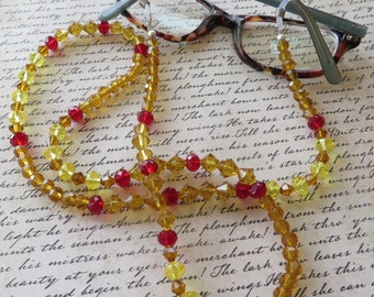 Red Yellow and Copper Toned Crystal Eyeglass Lanyard