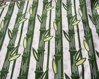 Japanese Fabric - bamboo - Green & White