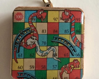 Snakes and ladders handmade wooden tile pendant
