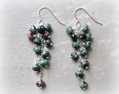 Ruby Zoisite Earrings,Faceted Stone Earrings,Cluster Gemstone Earrings,Sterling Dangles,Cascade Earrings,Green Stone Earrings,Hypoallergenic