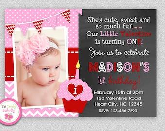 Valentines Day Birthday Invitation , Valentines Chalkboard Birthday Party Invitation Boys or Girls