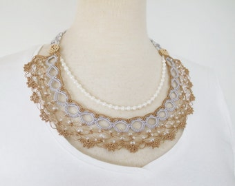 Crochet Lace Jewelry (Moon Light 2-b) Fiber Art Necklace, Statement Necklace, Crochet Necklace, Pearl Necklace, Double Necklace