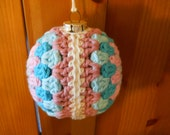 Christmas Glass Ornament Covered with Cotton Yarn, Holiday Ornament, Tree Ornament