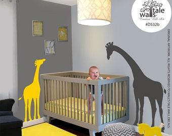Large Mom and Baby Giraffe wall decal for nursery,children bedroom, Kids Bedroom jungle/safari theme. Removable Vinyl Wall Art - d532b