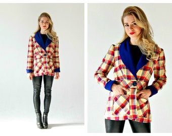 Vtg. Red Blue Plaid Jacket- M, Cute, 70s, Retro Adorable Big Collar Blazer, Tartan, That 70s Show, Modcloth Style,