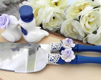 Love Birds Wedding Cake Topper and Cake Server and Knife Set, White, Navy and Lilac - Bride and Groom