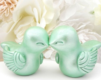 Mint Green Love Bird Wedding Cake Topper, Bride and Groom, Keepsake