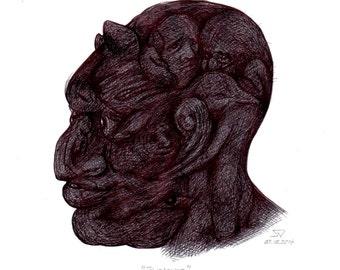 Pistorius - Original Drawing, Pen/Ink