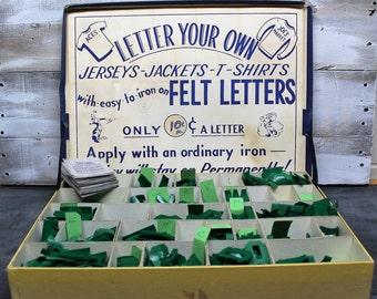 Vintage Stock Iron-On Felt Lettering Kit
